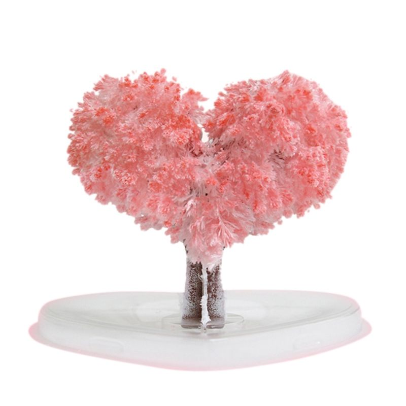 Magic Tree Bonsai Magic Sakura Heart Shaped Paper Tree Blossoming Creative Colorful Magic Tree Growing Crafts Toy