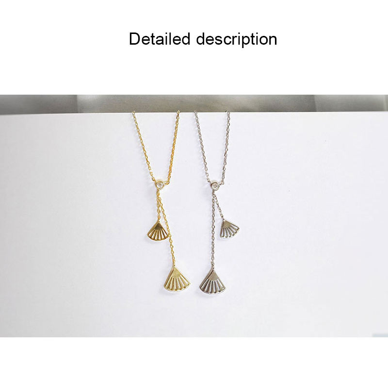 Dylam Fan Necklace Long Chain Elegant Decorative Tassel 925 Silver Sterling Fringed Statement Necklaces