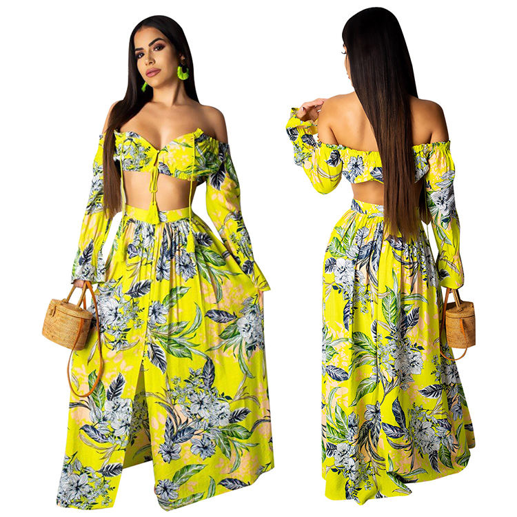 Yellow Sexy Fashion Floral Digital Print Wide Boat Neck Horizontal Collar Two Pieces Suit Skirt Chiffon Dress