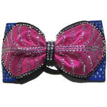 custom rhinestone transfer designs sparkle pink bling competition cheer  bow with elastic band
