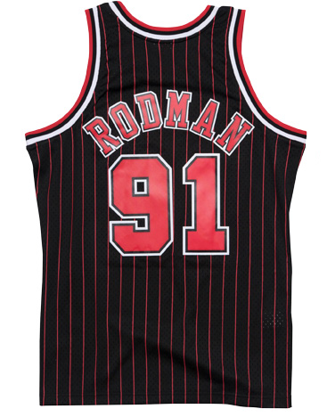 Throwback Shirts Basketball Stitched Red / Black Dennis Rodman Basketball Jersey