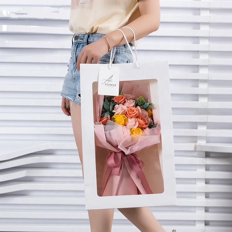 A-1127 New Design Packing Gift Flower Soap Rose Bouquet Wrapping Paper with Bag For Sale