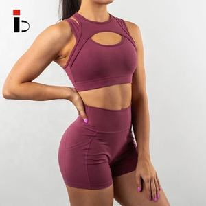 Unique Summer Athletic Apparel Manufactures Sports Bra Top Fitness With High Waist Stretchy Shorts