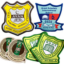 Wholesale Cheap Custom Name Logo Merrow Border Woven School Uniform Badges