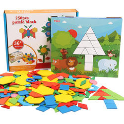 250pcs Wooden Geometric Clever Board Puzzle 3D Tangram Jigsaw Board Toys for Children Game