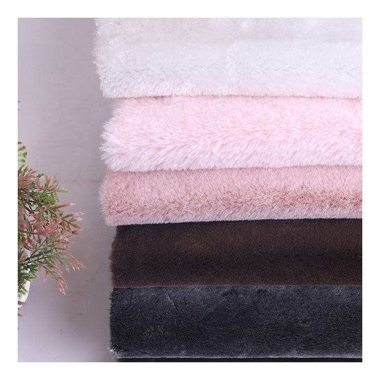 Wholesale 100% Polyester Knit Lining Long Pile Tissavel Plush Faux Rabbit Fur Fabric