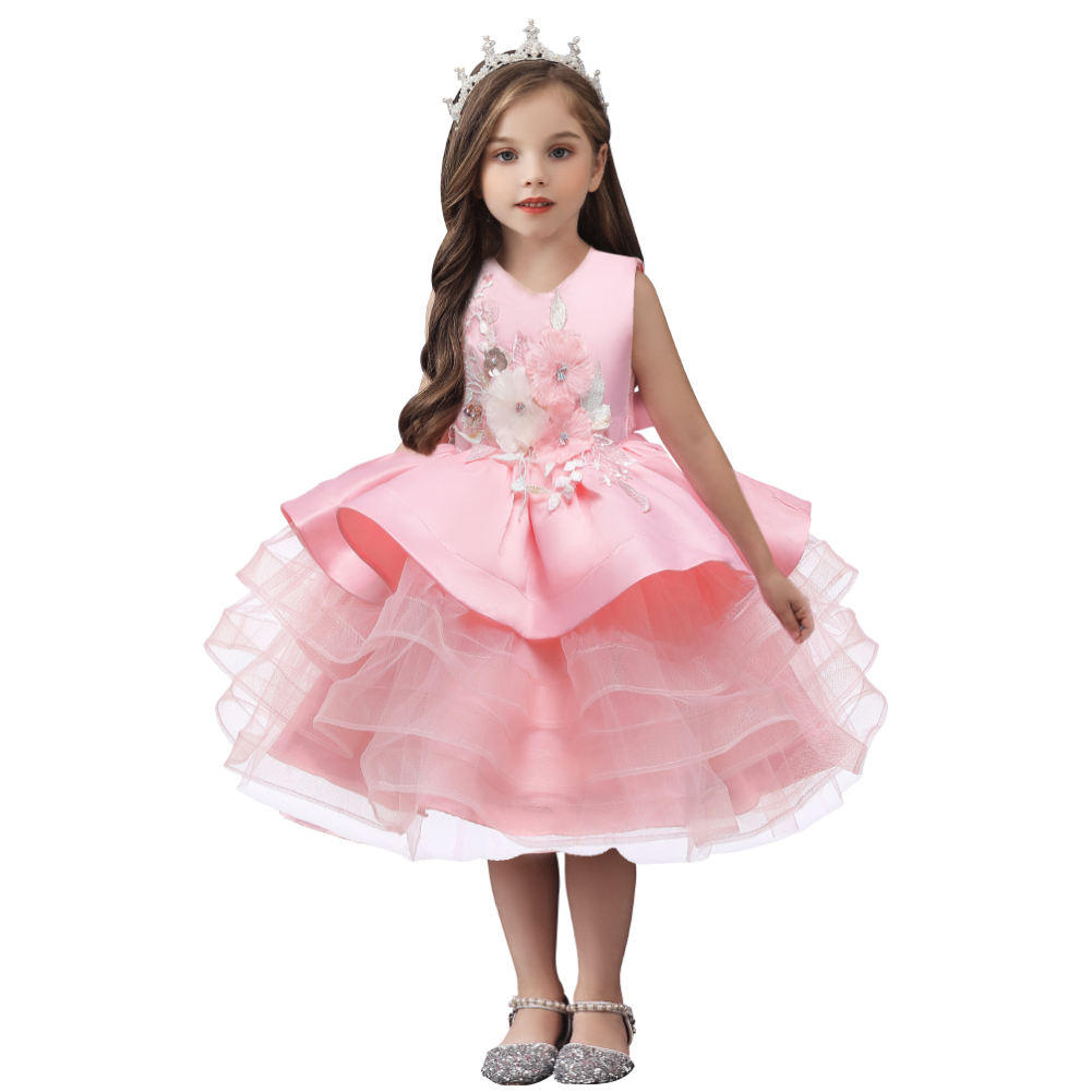 Sweet style girl evening dress child pink puffy prom dress for wedding fashion kid summer dress for girl 6 years old