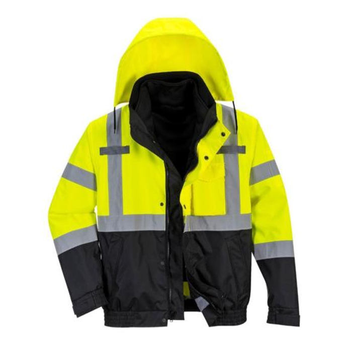 Hi-Vis Premium 3 in 1 Bomber Jacket, Yellow/Black