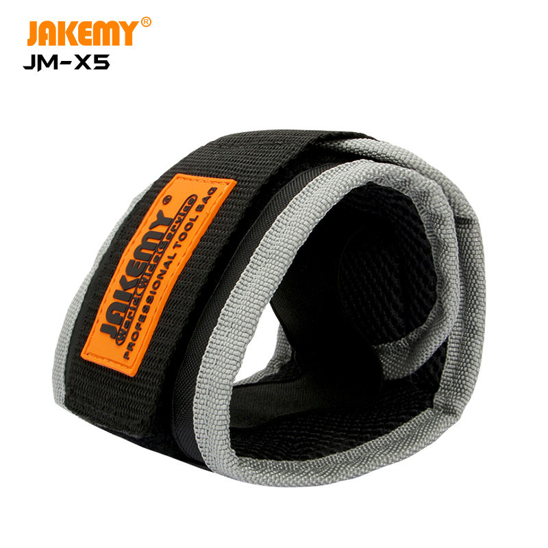 JAKEMY JM-X5 Portable Magnetic Wristband Bag with Strong Magnets for Holding Screws Nails Drilling Bits DIY Hand Tool Collection
