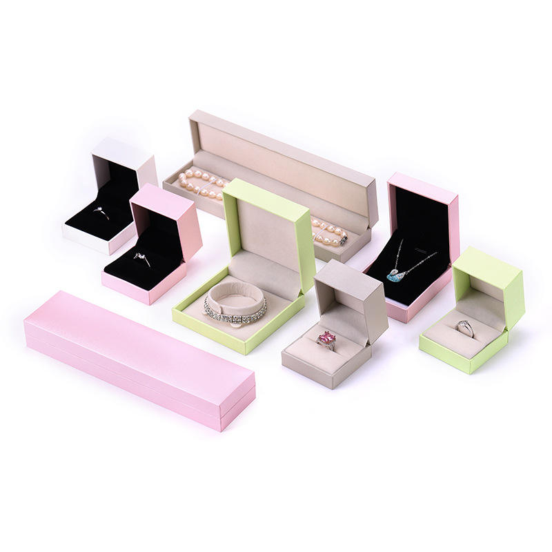 Special Paper Leather Fold Plastic Box Jewelry Gift Box Packaging Square Pink Jewelry Box