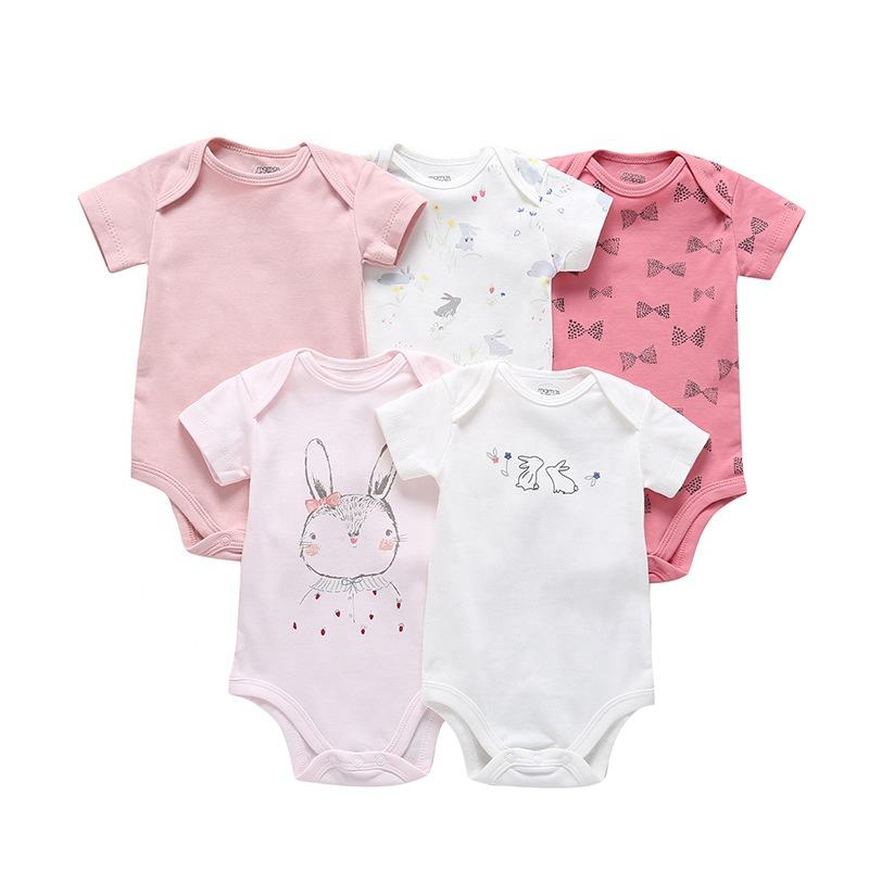 Romper Baby Wholesale Newborn Baby Girl Short Sleeve Romper Clothes Set