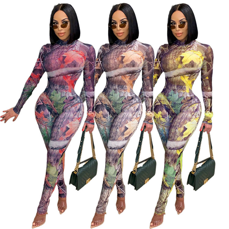 D95697 Digital printed spandex skinny clothes sexy long sleeve one piece bodycon jumpsuit bodysuits women 2020
