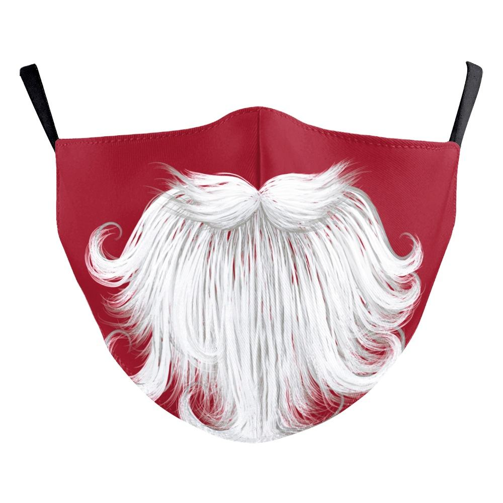 Good quality fashion party maskes washable cotton 3D printed Santa Claus Facial maskes adjustable adult Christmas face maskes