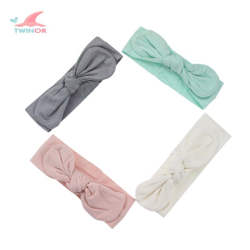 Factory wholesale custom solid color baby cotton head band baby girl hair accessories