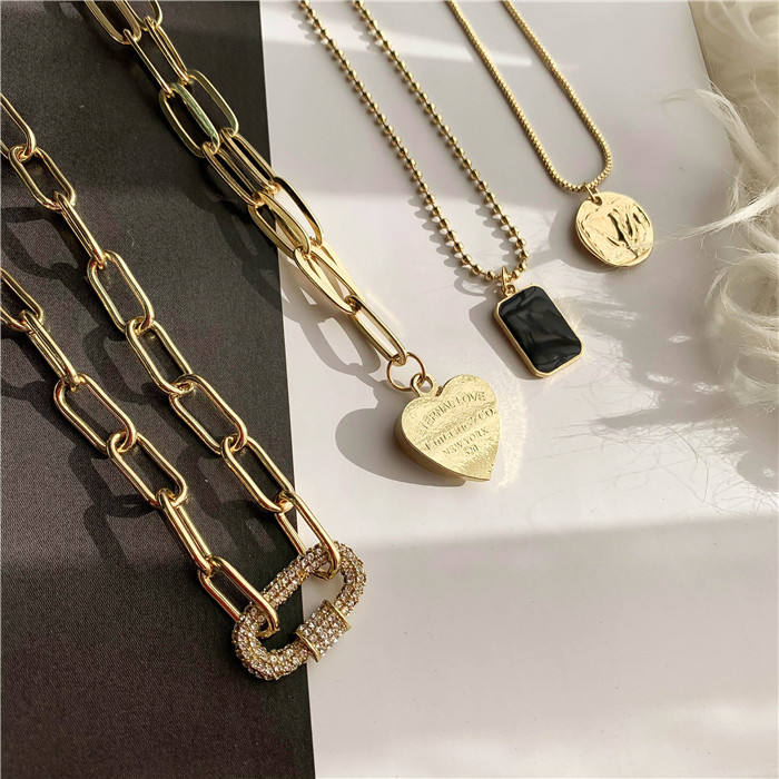 4 stks/set Meerdere manieren dragen hart ronde human vierkante coin multi layer ketting 4 layer vintage crystal charm ketting
