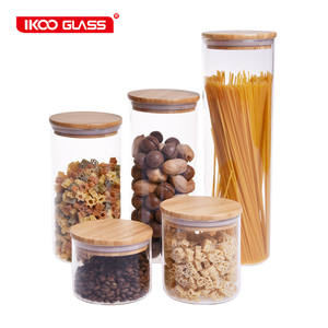 Food storage canister airtight round bamboo lid glass jar pasta glass container with wood lid