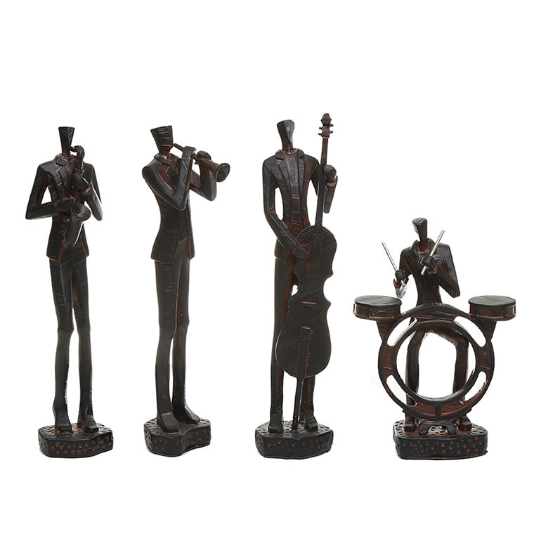 decoration home Resin Standing Jazz Band trumpet Saxophonist violin drum resin band Figurine