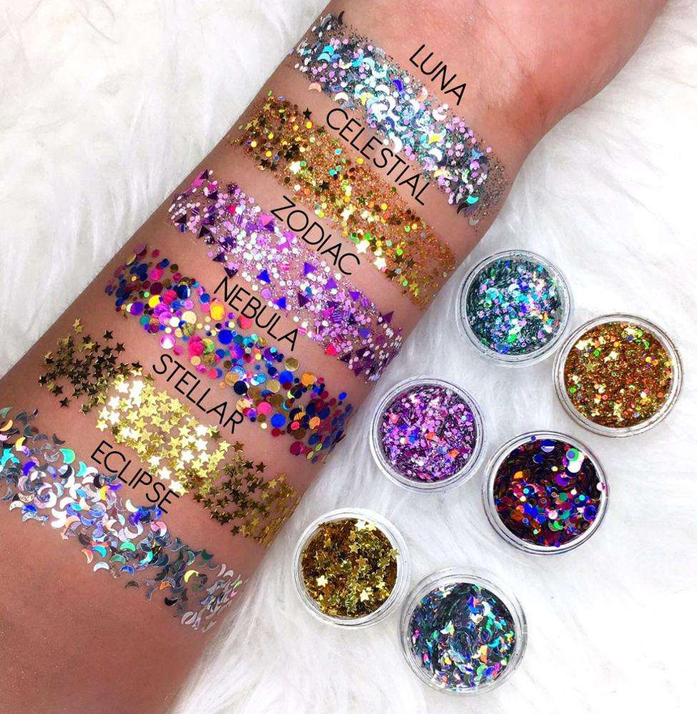 6-color Body Art Holographic laser Cosmetic Grade Chunky Glitter for face decoration