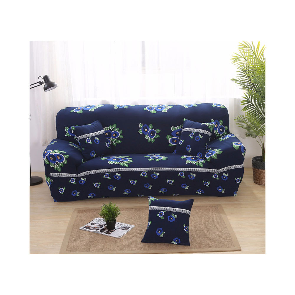 Fashion 100% polyester knitted printed full stretched 4 seater latest design sofa cover