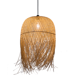 Indonsian rattan seagrass lamp shade bamboo cage wicker weaving ceiling chandelier pendant lighting from zhongshan factory