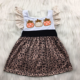 Fall Latest Western Pattern Design Party Wear Children Baby Girl Dress For Kids Embroidery Pumpkin Hallween Girls Dresses