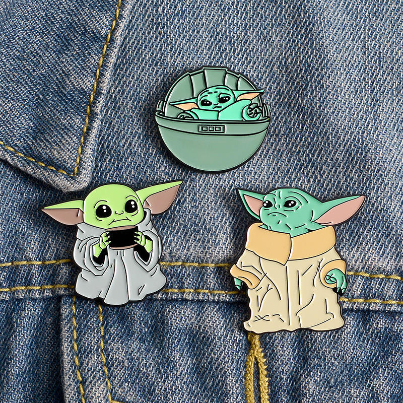 Wholesale Baby Yoda Hat Shirt Backpack Decoration Lapel Pins Metal Enamel Brooch Badge