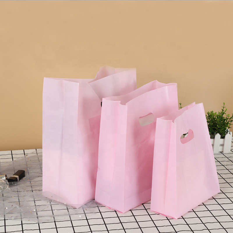 Matte Clear Plastic Packaging Bag shopping carry pvc die cut bag custom poly bags with handle