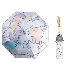 TTK wholesale custom high quality automatic uv protection parasol portable 3 fold umbrella backpack cartoon cute kids umbrella