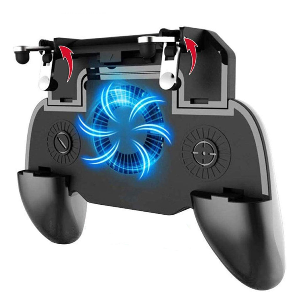 2020 Universal 6 Fingers Operation Gaming Joystick Remote Mobile Controller, Portable 4 Triggers Mobile Game Controller-