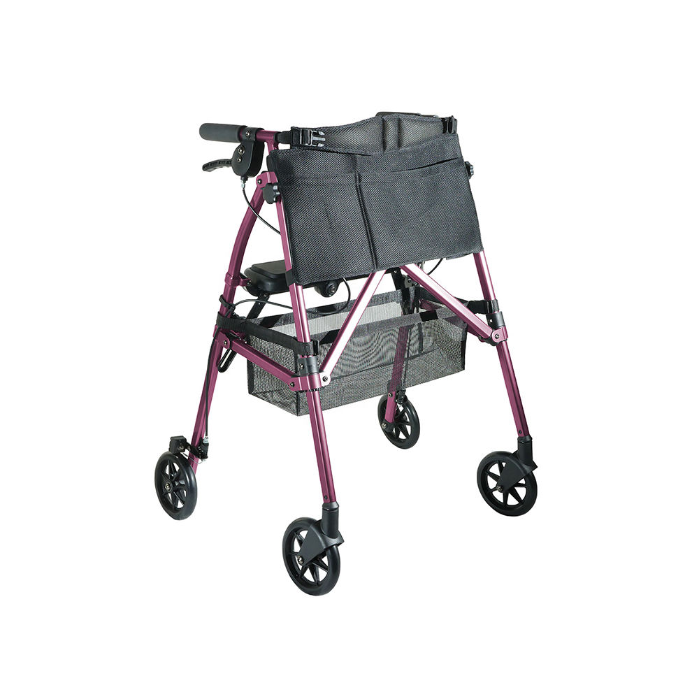 Stander EZ Fold-N-Go Rollator lightweight folding adult walker with seat- Regal Rose