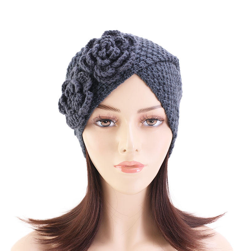 Muslim Winter Hat Warm Rose Flower Knit Cap Beanie Sleep Chemo Turban Headwear Bohemian headscarf cap