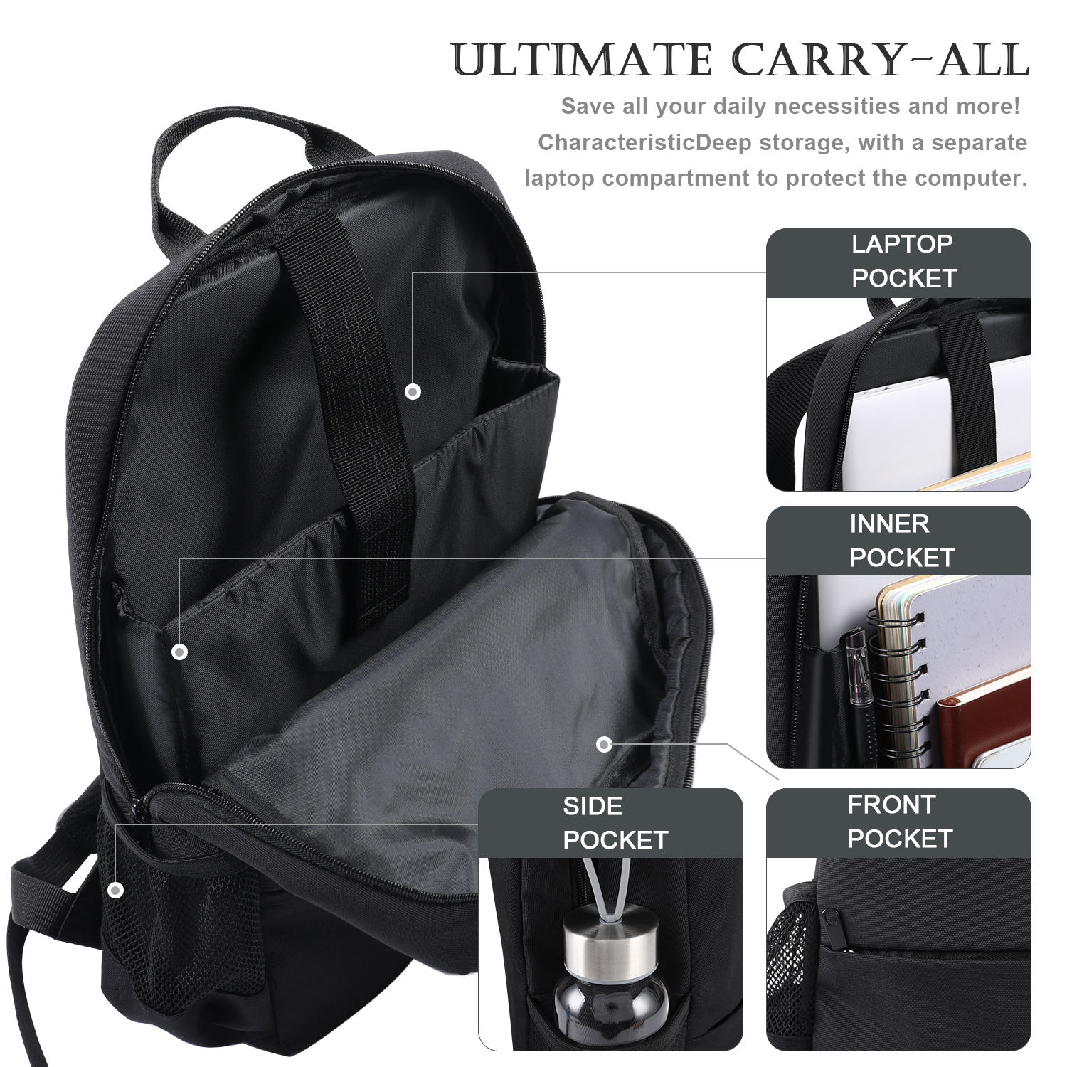 Unisex Black Custom Logo Laptop Computer Bag Men Nylon Business Travel Backpack Bag
