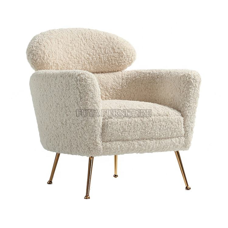 European mid century cream color welsh faux shearling accent chair