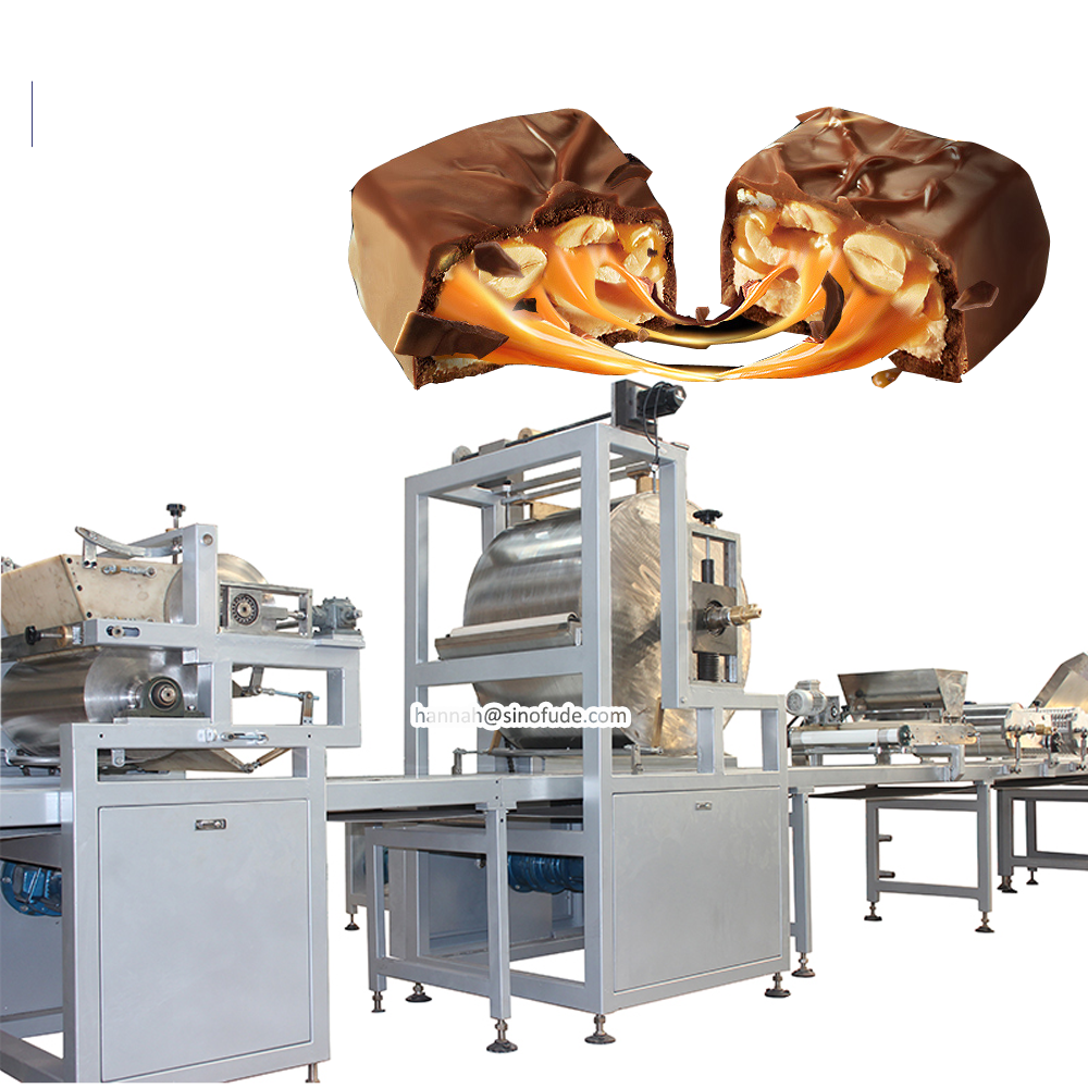 Fully Automatic Chocolate Peanuts Snickers Bar production Candy protein bar making machine