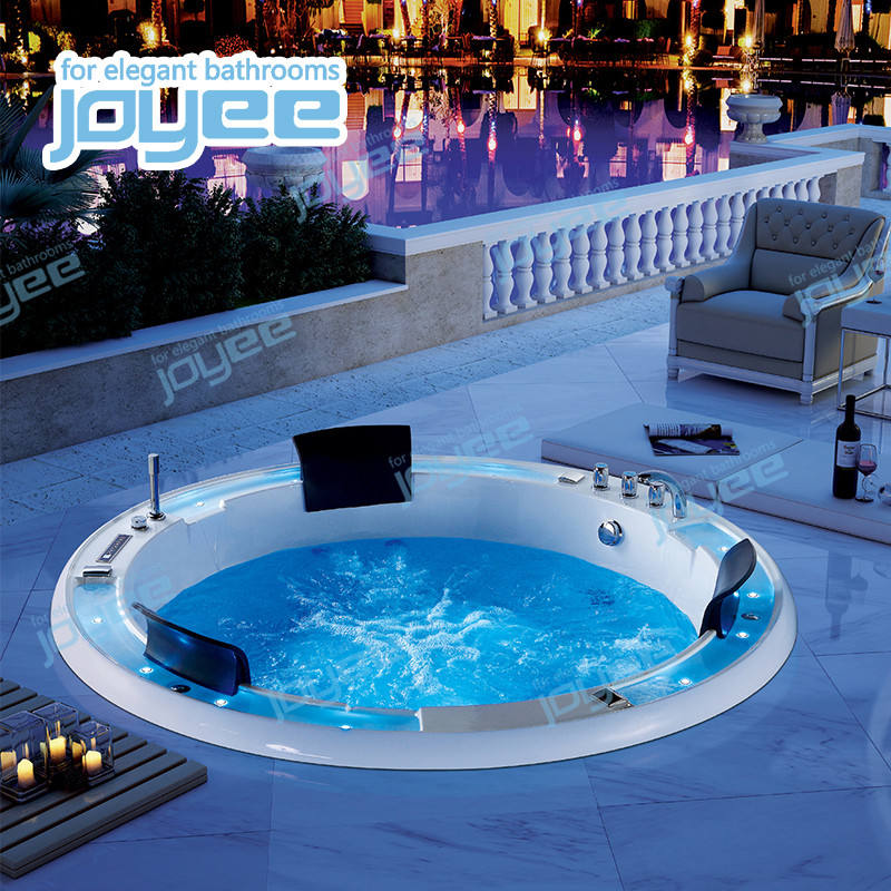 Joyee small massage led bathroom spa tubs round drop in whirlpool bathtub for 2 person outdoor indoor hot tub sale
