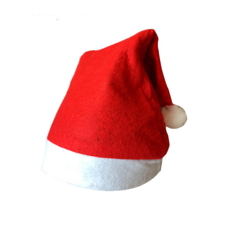 Small order red holiday christmas hat decoration, merry christmas hat, hot sale nonwoven christmas cap santa hats for New Year