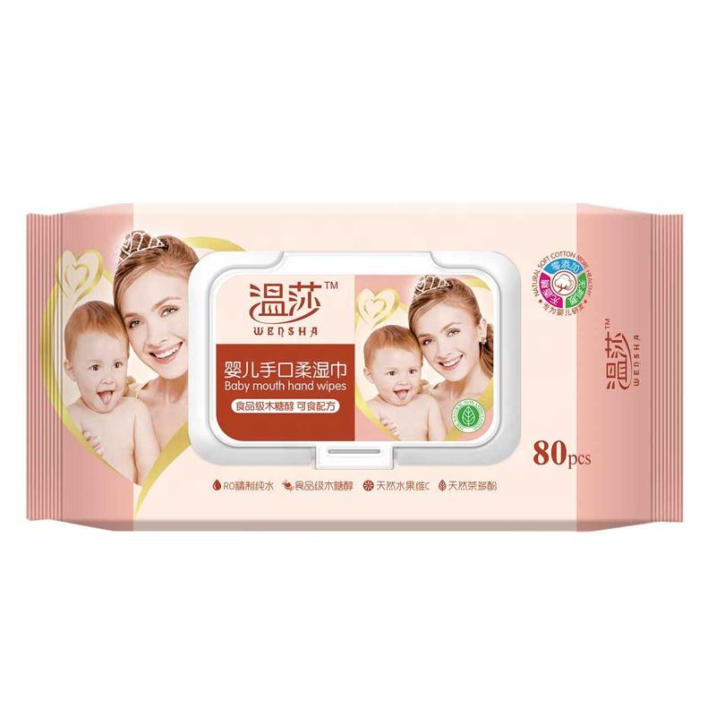 Custom Organic Wet Wipes Biodegradable Wet Tissue Hand Mouth Baby Wet Wipes