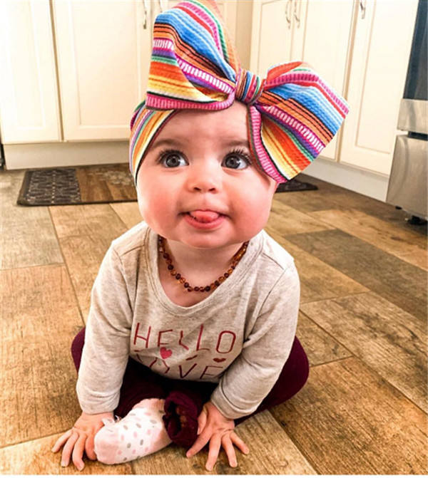 RTS cute serap big bow headbands baby girl Oblique bubble material baby bows girls headband infant toddler accessories hair band