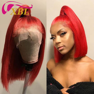 XBL Drop Shipping 1b 99j red human hair lace frontal wig, 150% raw mink brazilian hair wig,virgin lace front wig human hair
