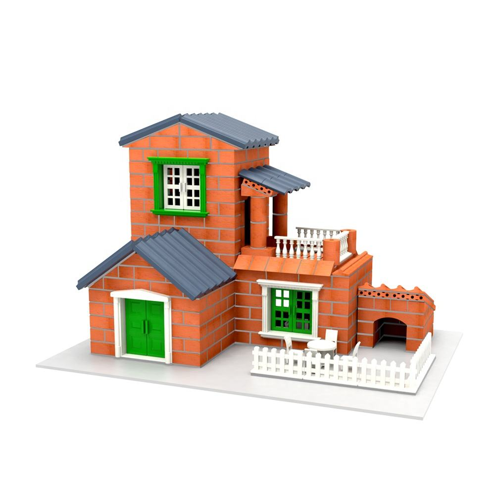 Mini Cement Bricks to Build Small Walls and Mortar Let You Build Your Own Tiny Wall Mini Bricks Toy +Cement + Shovel Set (Red)