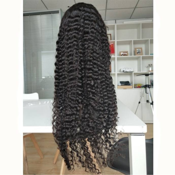 Full Lace Human Hair Wig Deep Wave Long Raw Indian Hair Wig