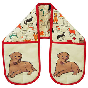 Kitchen Cooking Baking Heat Resistant Dog Printed Cotton Oven Glove Double Oven Mitt