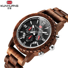 KUNHUANG 1014 Man Fashion Watch Men Chronograph Wooden Watches 3 Dials Waterproof Top Brand Luxury Sports Mens Watches