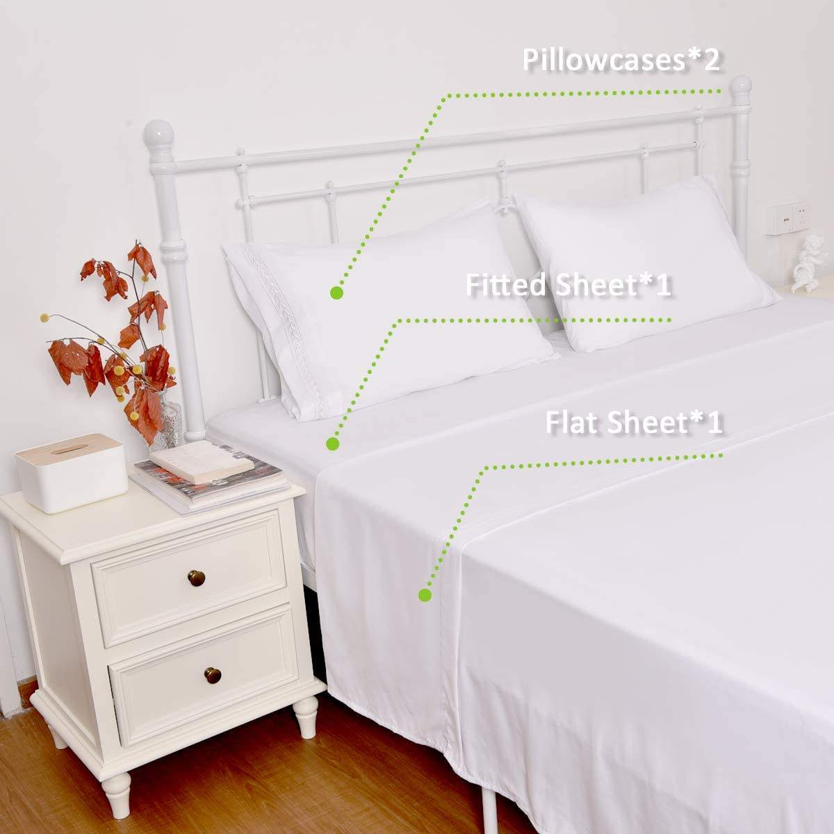 Soft like100% Egyptian Cotton Sheets 1000 Thread Count Brushed Microfiber White Bed Sheet with Pillowcases