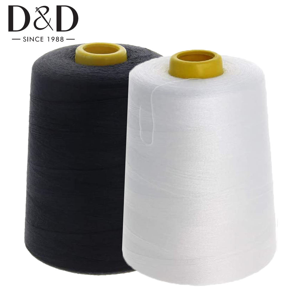 8000 Yards Sewing Thread Overlock Spools 40s/2 Polyester Thread for Sewing Machine Line Clothes Sewing Supplies White Black