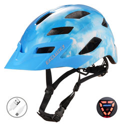 Exclusky Adult Bicycle Helmet MTB With Light Visor Rechargeable USB Safety LED CPSC CE Certified
