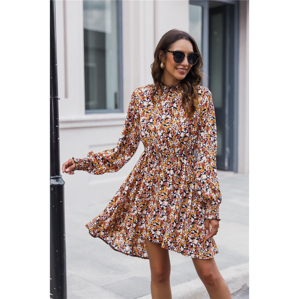 Women's 2020 New Long Puff Sleeve Casual Dresses Womens Fall Floral Fashion Dress Clothing Wholesale