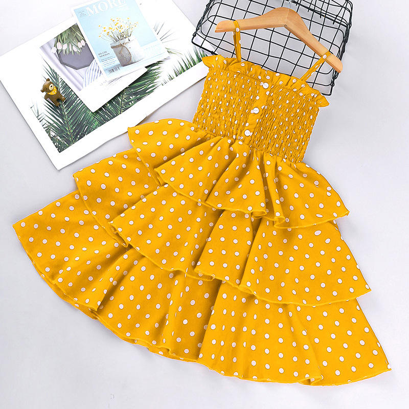 IHJ3344 Hot-selling children clothes 2021 spring and summer new girl polka dot dress little princess dresses