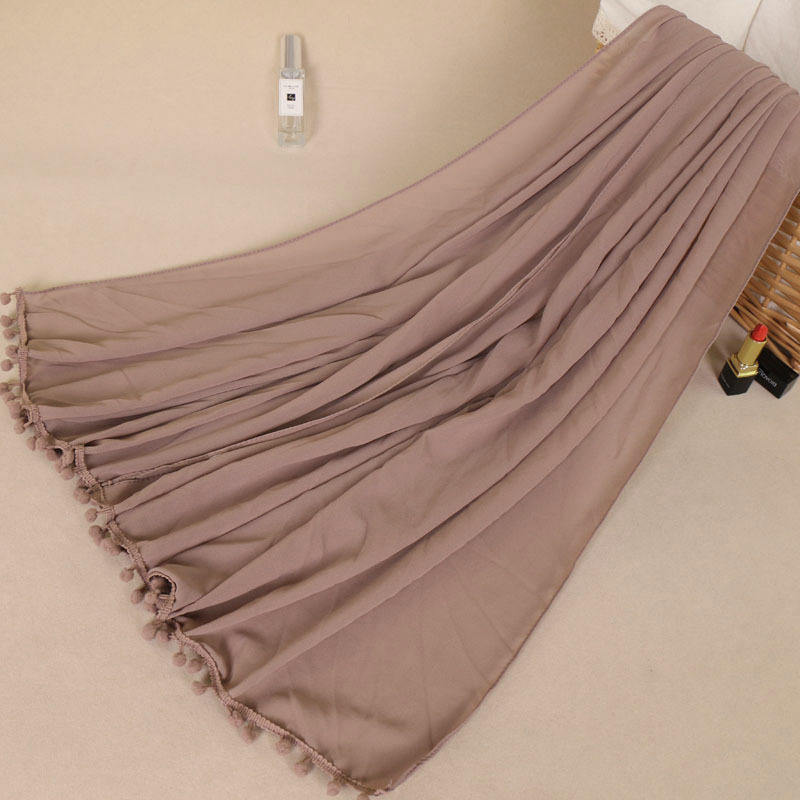 New Tops Selling Modern Spring Wrap Scarf Shawl Ladies Plain Solid Pure Color Polyester Wholesale Tassel Chiffon Hijab
