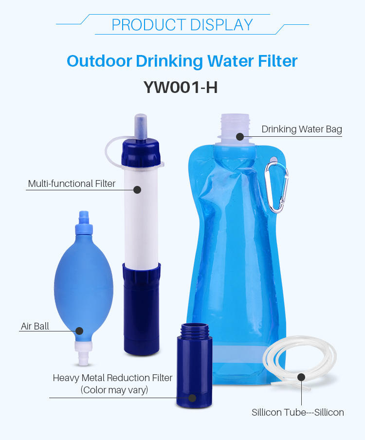 Straw filter outdoor water purifier hiking straw filter water filter survival